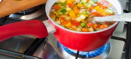 Kochen auf Gasflamme