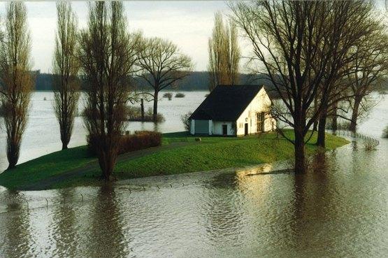 Rheinhochwasser am Wasswerk 1993